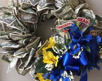 Wreath Made of Real Money for Graduations, Birthday Gifts, Baby Showers, Wedding Gifts