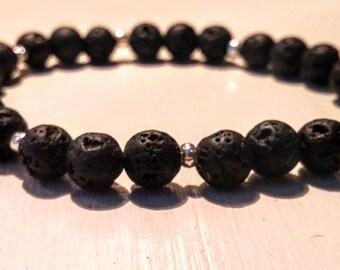 Bracelet with lava stones.