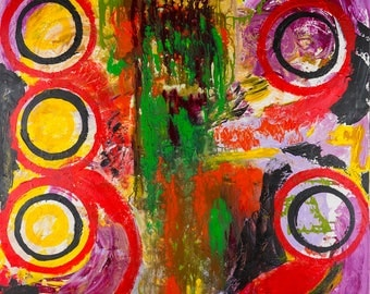 The EYES of the DRAGON, ORIGINAL Large Painting, Abstract,Moder Art, Ideal for Collection, Home or office, Red , Circles