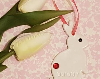 Hanging Easter bunny tag/Easter rabbit/Easter clay bunny/personalised gifts/personalised gift tags/Easter clay rabbit