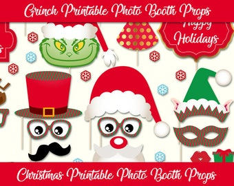 Christmas Photo Booth Props - Grinch Photo Booth Props - Printable Christmas Props - Christmas Party - Photobooth Christmas