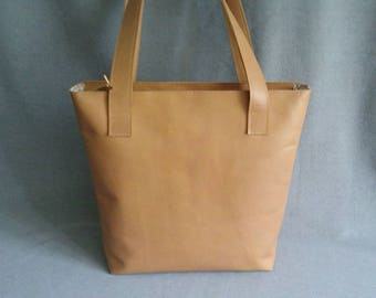 Leather brown Shopper, leather bag, handmade
