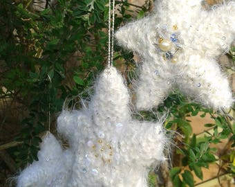 Knitted Christmas Star with Embellishment