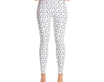 French Bulldog Yoga Leggings With Small Frenchie Faces All Over