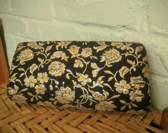 Vintage floral print embroidered clutch