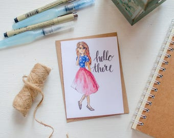 Watercolor Fashion Girl Note Card