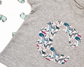 Liberty Initial T Shirt Children's Personalised Liberty Print Initial T Shirt in White, Navy, Grey, Pink, Blue, Birthday Boy Outfit