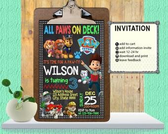 Paw Patrol Invitation,Paw Patrol Birthday,Paw Patrol Party,Paw Patrol Invite,Paw Patrol Birthday Invitation,Paw Patrol,Birthday InvitationFF