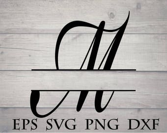 Lettre monogramme svg de Split / split initiale M svg - monogramme split split monogramme alphabet svg, fichier cricut monogramme, lettre svg, cricut vinyle