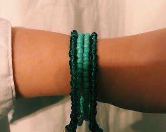 Beaded blue bracelets
