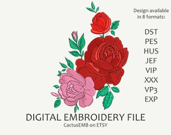 INSTANT DOWNLOAD - Roses Bouquet machine embroidery design. Red Rose. Flower. Boho Style. Embroidery design