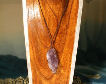 Amethyst Crystal Hemp Wrapped Necklace