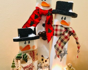 Handmade Lighted Wooden Snowman Trio