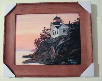 "Framed Original Hand Painted Sunset at Bass Harbor Light House Acadia National Park Maine 11""x 14"" canvas, 15.25"" x 18.25"" frame, Wall Art"