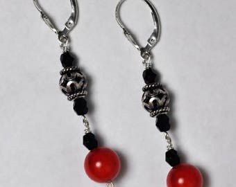 Womens Red Coral Black Onyx Vintage Dangle Drop Earrings Oxidized Sterling Silver 2 1/4 inch