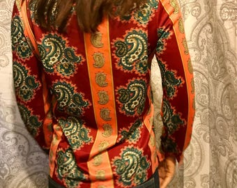 Vintage Seventies Vera Neuman Blouse - Jewel Tone Paisley Button Down