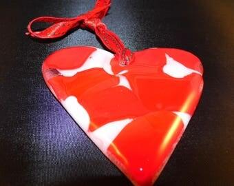 Fused Glass Love Heart Light-Catcher, Ornament.  Handmade.  Unique.