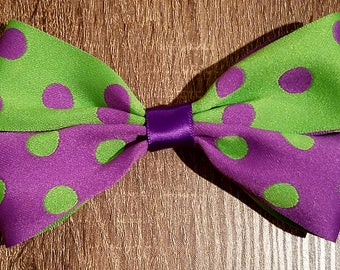 Small Purple And Green Hair Bow