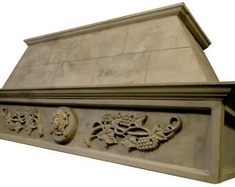 """Cast Stone Kitchen Vent Hood/Range Hood 72"""" w x 30"""" h (fits 8-foot ceiling) Kitchen Exhaust MEDITERRANEAN"""