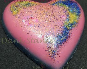 CLEAN MAN | Large Pink Heart Wax Melt - Home Fragrances - Gifts for Her - Scented Wax Tart - Aromatherapy - Men's Cologne Scent