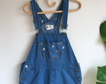 Vintage Women's Denim Overalls with Chickens Size Large