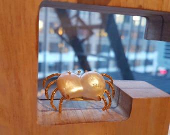 Handmade Baroque Pearl Crab Ring 20170002