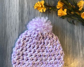 Crochet winter beanie colored Orchid and white