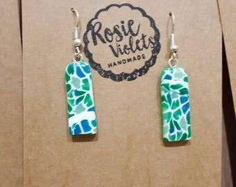 Green mosaic polymer clay drop earrings