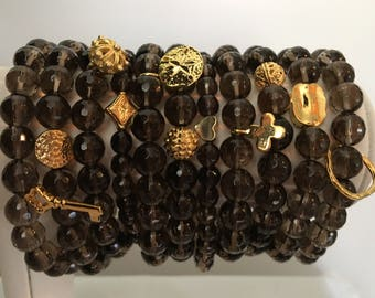 Smokey Quartz Stackable Bracelets with Gold Charm - Natural Stone