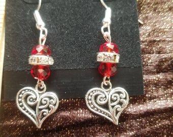 Red Crystal Heart dangle Earrings