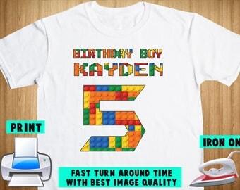 Lego Iron On Transfer / Lego Birthday Shirt Design / Lego Personalize DIY Shirt / DIY Birthday Shirt / Digital Files