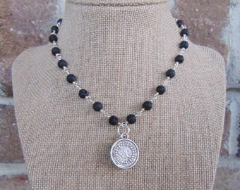 Black Beaded Coin Necklace