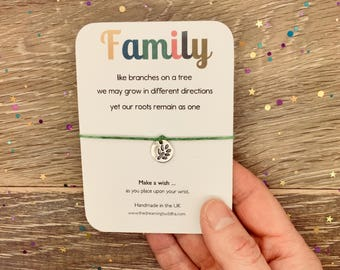 Family Wish Bracelet, Sister Wish Bracelet, Brother Wish Bracelet, Daughter Son Wish, Separation Wish Bracelet, Mum Dad Wish Gift Card
