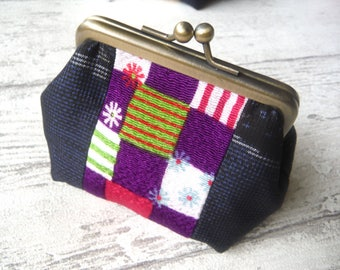 Gamaguchi Purse with Japanese Kimono fabric, Size Small, Purple Square