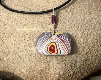 Double Sided Fordite Detroit Agate Pendant