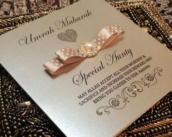 Personalised Handmade Umrah or Hajj Mubarak Congratulations Muslim Islamic Card Unique Keepsake Design 2