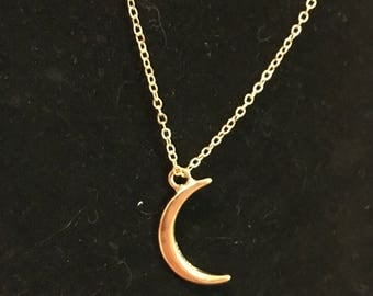 Gold plated crescent moon and star necklace