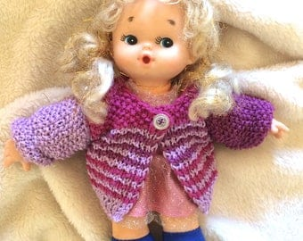 Striped cardigan for dolls