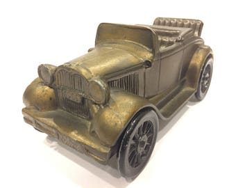 Vintage 1974 Banthrico Chicago Patina Metal Coin Toy Piggy Bank 1929 Ford Model