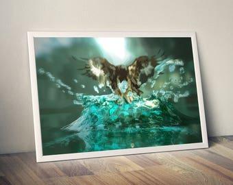 hawk illusion, hawk,  illusion, hawk art, hawk print, hawk poster,  illusion art, surreal art, animal art, wall art, poster, digital print