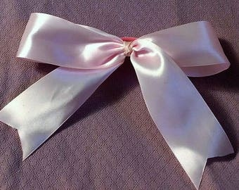 Cheer Bow, Pink Hair Bow, Fancy Bow, Girls Hair Bows, Boutique bow, Satin Bow, Girls hair bow, Basic Cheer Bow, Pink Bow, Big Bow, 9""