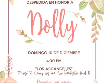 DIGITAL INVITATION with flowers decoration