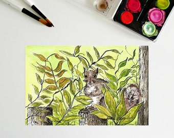 5 x 7, Hiding Squirrel, Printable art, ink and waterclor, art printables, downloadable art, squirrels, chipmunks, miniature painting, nature