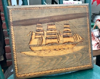 Vintage wooden engraving of the Cutty Sark