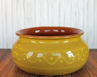 Vintage Yellow Ceramic Bowl Dish Easter Decor Summer Made in Portugal BF
