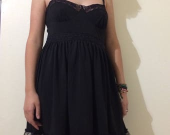 Goth Black Lace Babydoll dress <3