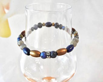 Natural Lapis Lazuli, Sodalite & Labradorite healing gemstone with Swarovski Crystal stretch bracelet