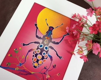 We Love Bugs! Digitally illustrated insects in colorful dress.
