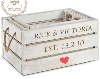 personalised wooden crates, shabby chic crates, rustic wooden crates, valentines decor, valentines hamper crate, valentines gift, wedding