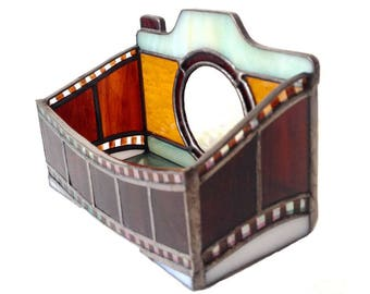 Retro Camera Stained Glass  Busines Card Holder
